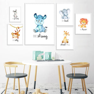 Child Poster Baby Nursery Wall Art Canvas Print Cartoon Animal Zebra Lion Monkey Painting Nordic Kids Bedroom Decoration Picture