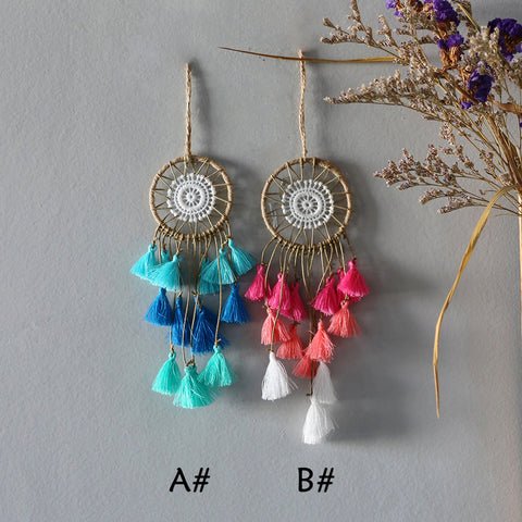 nordic  pink blue tassel dream catcher car decoration kawaii room decor wall hanging decor nordic decor gift for women