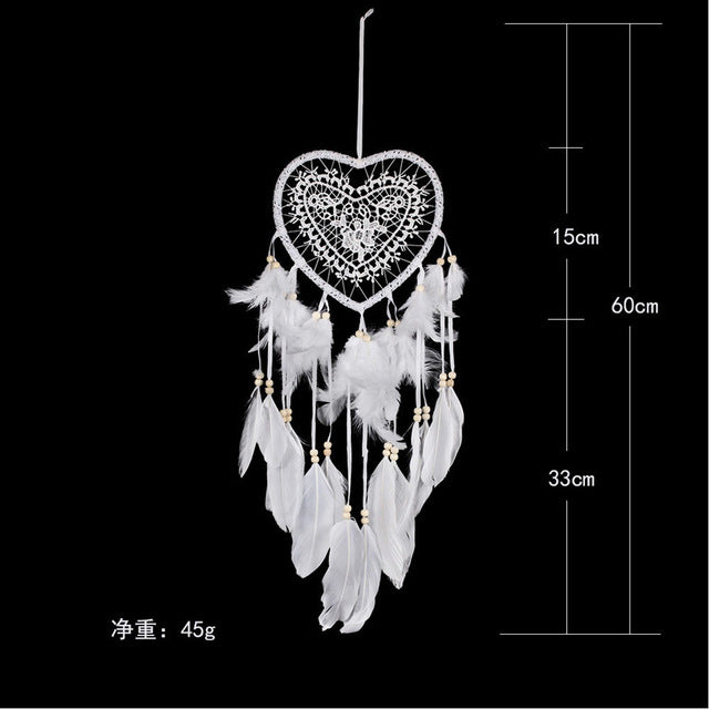 nordic dream catcher white heart  dreamcatcher  kids room decoration  girls room decor wedding party decoration  gift for women