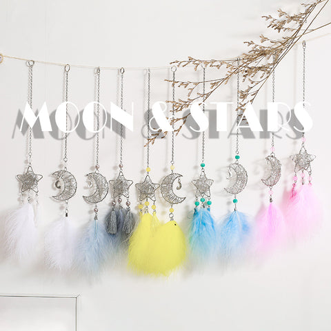 nordic  star moon dream catcher  room deocration car dreamcatcher white pink blue room wedding  gift for girls