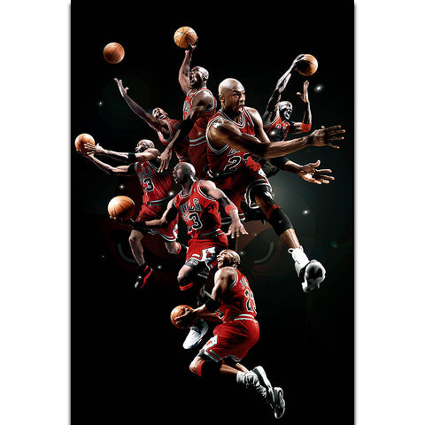 Michael Jordan MVP Player Shooting AJ Wall Art Painting Print On Silk Canvas