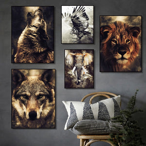 Watercolor Wolf Lion Eagle Elephant Wall Art Canvas Painting Nordic Posters And Prints Wall Pictures For Living Room Home Decor