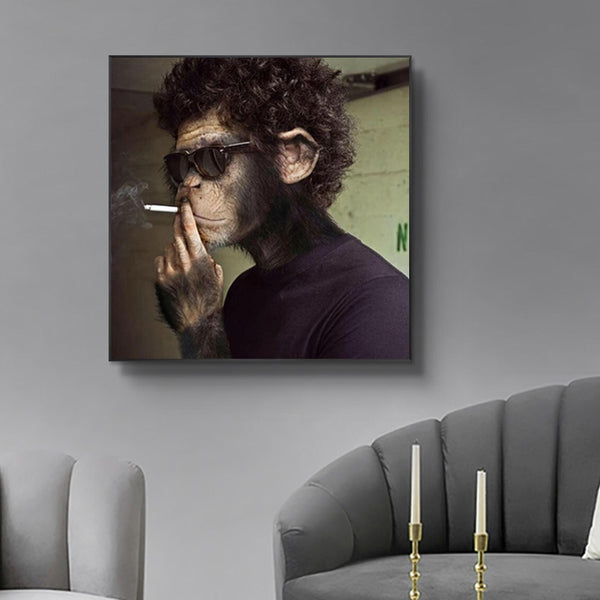 Smoking Sunglasses Monkey Draw  Canvas Wall Art Poster