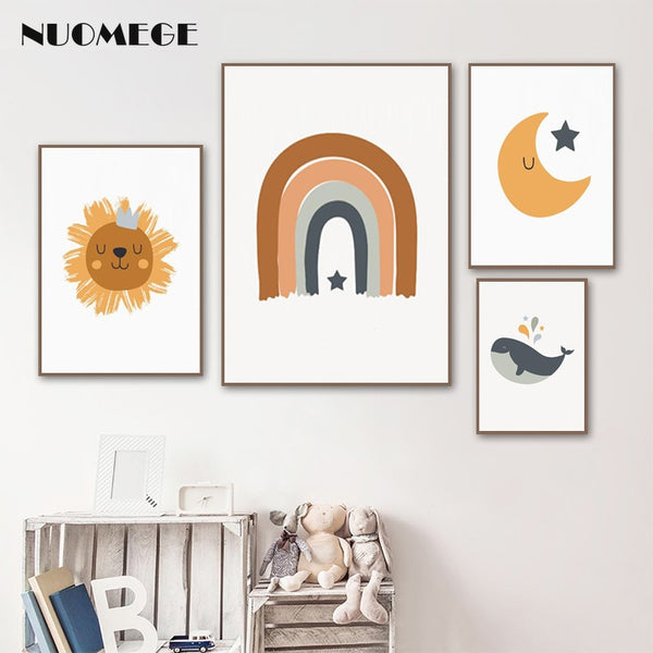 Sun Moon Rainbow Canvas Prints