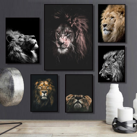 Wild Animal Lion Poster Art Print Wall Pictures Nordic Black and White Canvas Painting Living Room Minimalism Pop Art Home Decor