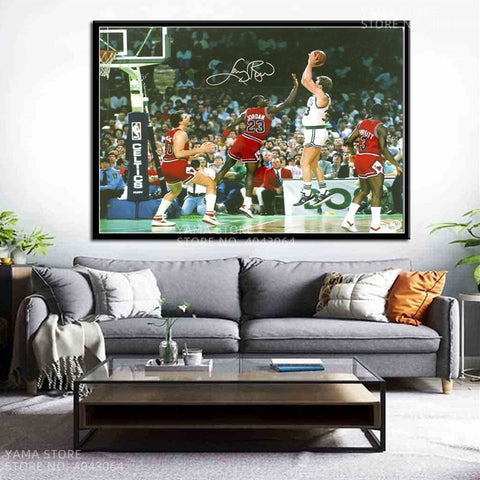 Larry Bird Michael Jordan Basketball Basketball MVP Player Gift Wall Art Decor Painting Poster Prints Canvas