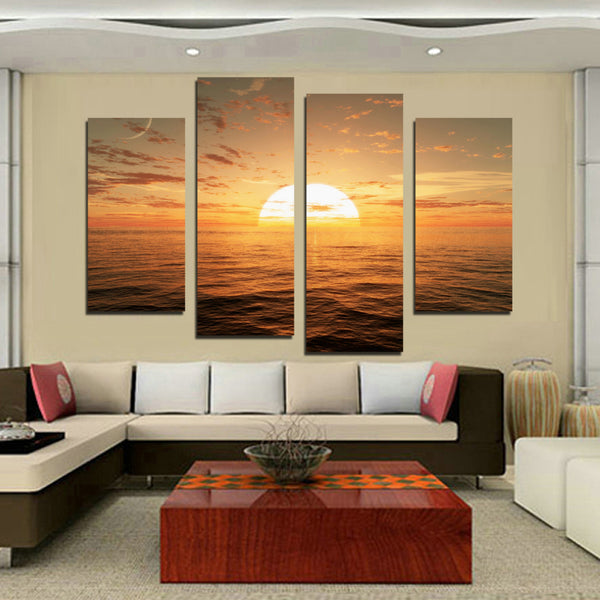 Printed sunset seascape scenery landscape modular picture sea waves beach large canvas painting for home wall art decor F18814