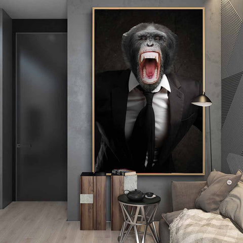 Angry Monkey in a Suit  Art Posters Monkey Art Canvas Paintings