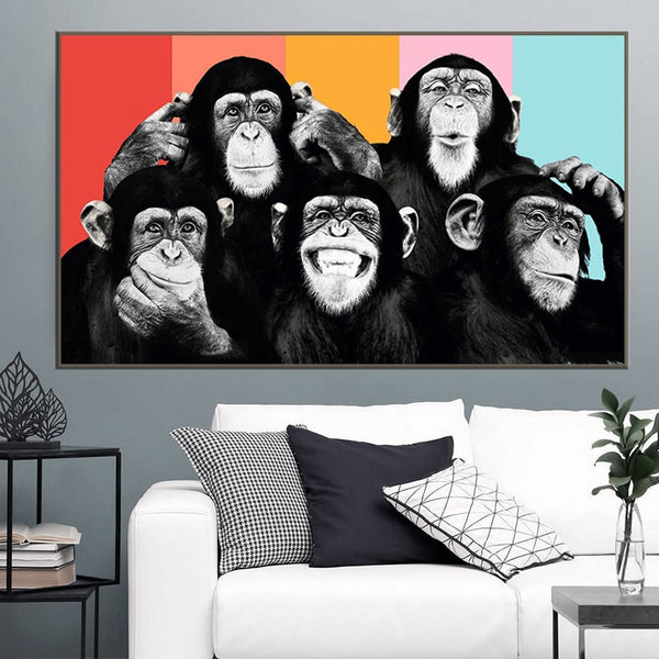 Funny Monkey Painting Canvas Wall Art Canvas Posters
