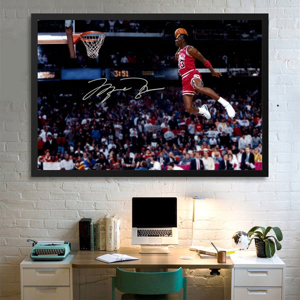 Basketball Poster Michael Jordan flying dunk Picture Painting Canvas Print