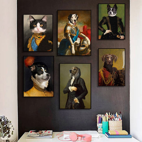 Vintage Style Animals Canvas Painting Deer Cat Dog Portrait Posters and Prints Nordic Wall Art Picture for Living Room Decor