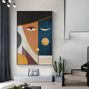 Modern Figure Abstract Geometric Canvas Painting Contemporary Art Poster Print Faces Wall Art Picture for Living Room Home Decor