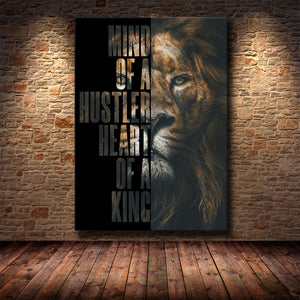Wild Lion Letter Motivational Quote Art Posters and Prints on Canvas Painting Decorative Wall Art Picture for Office Home Decor