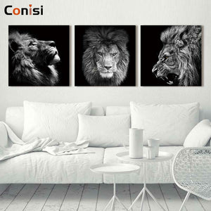 3 Panels Lion Art on Canvas Print