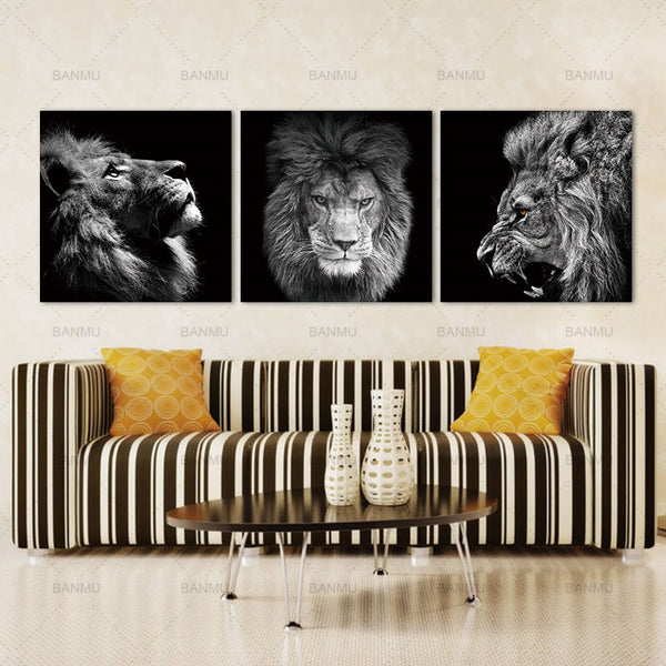 Lions Painting on Canvas Print