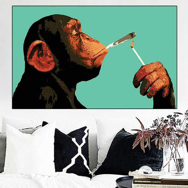 Smoking Gorilla artwork Canvas Painting Posters and Prints
