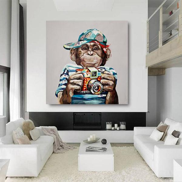 Oil Painting Canvas Prints Wall Art Monkey with Camera
