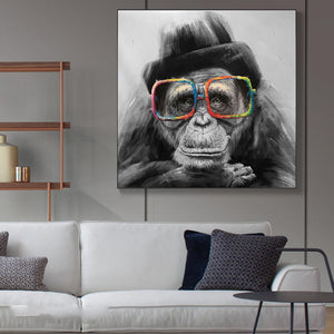 Monkey with Glasses Canvas Posters And Prints