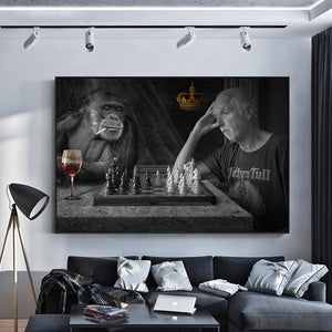Monkey Playing Chess Creative Monkey Art Paintings Print on Canvas