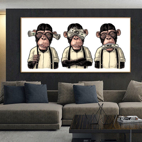 Art MonkeyPosters and Prints Three Monkeys Gorilla with Money Canvas Painting