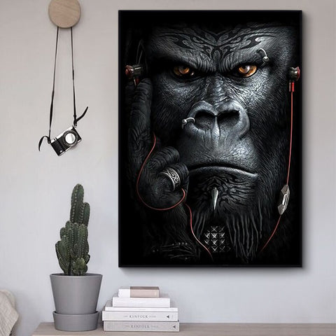 Monkeys Painting Listening Music Wall Art Posters