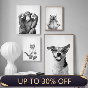 Funny cat smiling dog thinking monkey pictures canvas painting