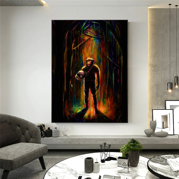 Canvas Painting painting Monkey with Helmet Modern Anime Posters and Prints