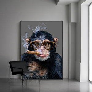 Monkey Smoking Art Cavas Print Animal Posters