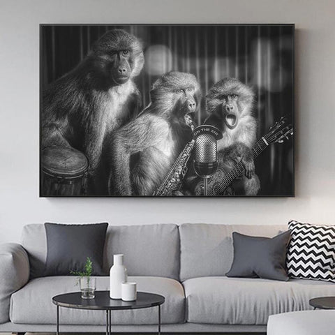 Black And White Monkey Art Posters and Prints