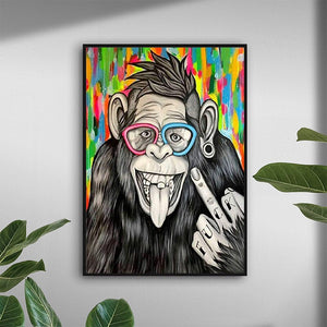 One-finger Salute Monkey Paintings Poster Prints