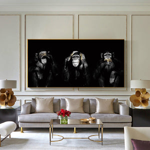 Three Monkey Painting  No Lister No Speak No See Monkey Art Canvas Print
