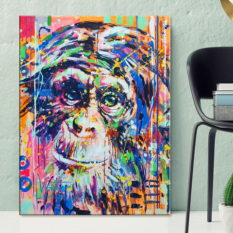 Monkey Painting Colorful Printed Poster
