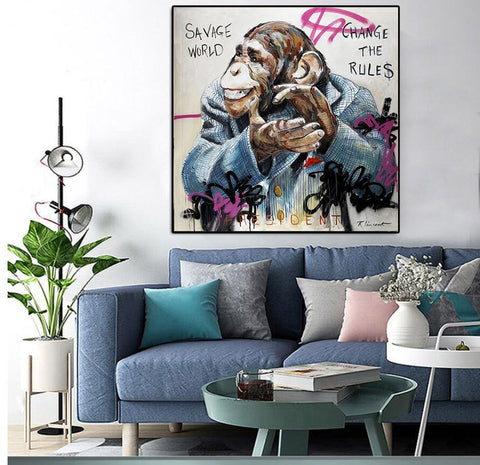 Large Size Funny Monkey Gorilla painting Posters Prints For Living Room Wall Pictures
