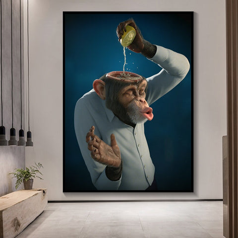Monkey Lemon Funny Canvas Painting Prints Unstretched