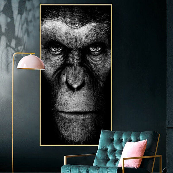 Modern Black Gorilla Monkey Painting Canvas Prints