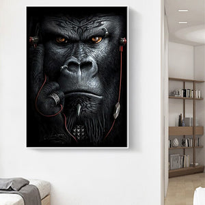 Apes and Monkeys Listening Music Art Posters and canvas painting