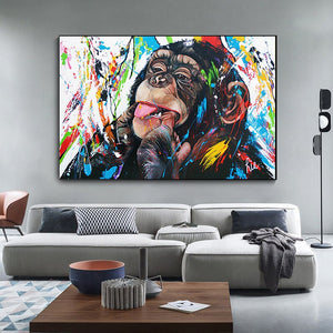 gorilla art Cute Monkey Canvas Painting Colorful Printed Poster