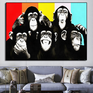 Graffiti monkey painting Canvas Painting Colorful Printed Poster