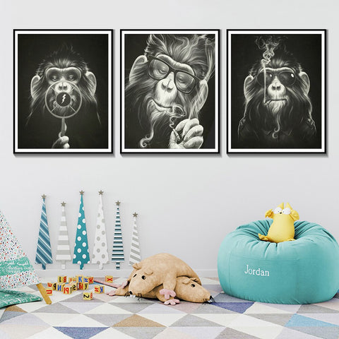 Black And White monkey painting Canvas Poster Monkey Smoking With Glasses