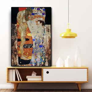 Gustav Klimt by The Three Ages of Woman Oil Painting on Canvas Posters and Prints Scandinavian Wall Art Picture for Living Room