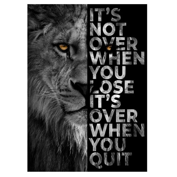 Animal Wall Decor Painting Lion Poster Its Over When You Quit Insparing Phrase Canvas Prints for Home Office Wall Decor