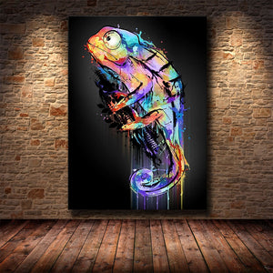Abstract Animal Canvas Painting Chameleon Wall Art Home Decor Posters and Prints Modern Living room Artwork Picture
