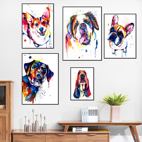 Colorful Animal Dog Canvas Painting French Bulldog Labrador St Bernard Poster Abstract Wall Art Canvas Prints Pictures Decor Art
