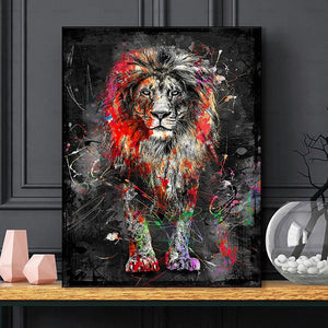 Frameless Colorful Lion Animal Abstract Painting Modern Wall Art Picture For Home Artwork Poster Canvas Painting Home Decor