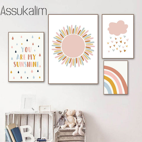 Sunshine Rainbow Canvas Print Children's Painting Nursery Wall Poster Cloud Posters Nordic Wall Pictures Kids Room Decoration