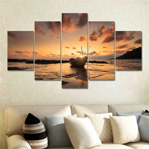 5 Panel Modern Canvas Print Seascape Painting Wall Art Picture Canvas Art Home Decor Modular Painting for Living Room No Frame