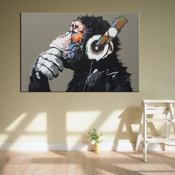 Large 1 Pcs Animal Monkey Canvas Printed Painting Modern Funny Thinking Monkey with Headphone Wall Art for Living Room Decor