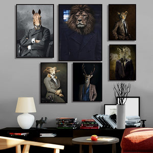 Nordic Rabbit Cat Animal Vintage Big Canvas Painting Art Zebra Lion Elephant Posters And Prints Wall Picture For Living Room
