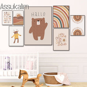 Bear Paintings ABC Poster Rainbow Nursery Canvas Painting Sun Landscape Wall Art Print Boho Wall Pictures For Baby Room Decor