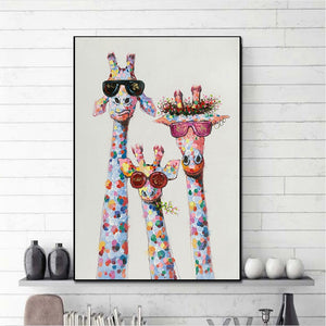 Modern Art Colorful Oil Animal Giraffe A Family With Glasses Painting Canvas Picture  Canvas Printings Wall Art For Living Room